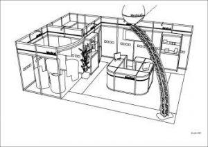 dessin noir et blanc logiciel 3d expo stands